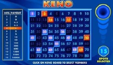 Keno spelas även på Casino Online