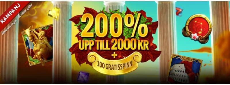 200% bonus och gratis spinn