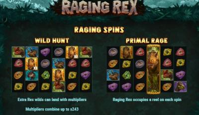 Raging Spinns Bonusfunktion i Raging Rex Slot